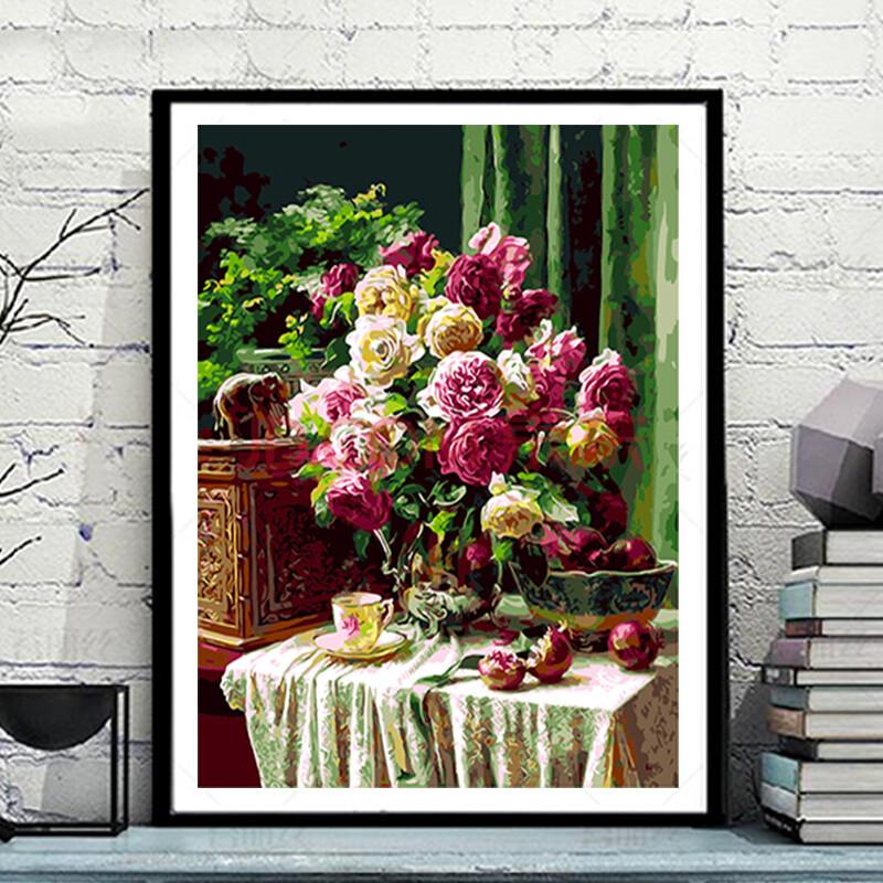 佳彩天颜 数字油画第一手绘卧室风景植物花卉手工装饰