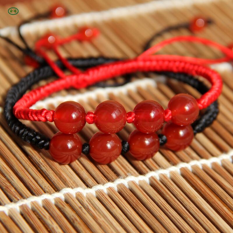 俞缘 红绳手链 手工红线编织手绳情侣款玛瑙手链男女款手串 男款