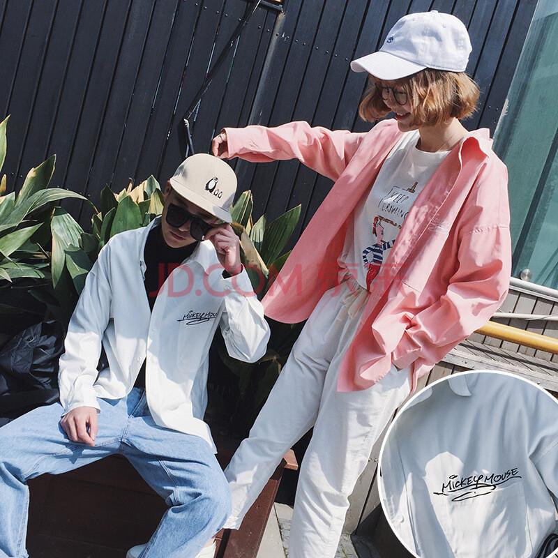 欧仕娅夏季新款情侣卡通图案衬衫 长袖韩版宽松薄款方领青少年男女