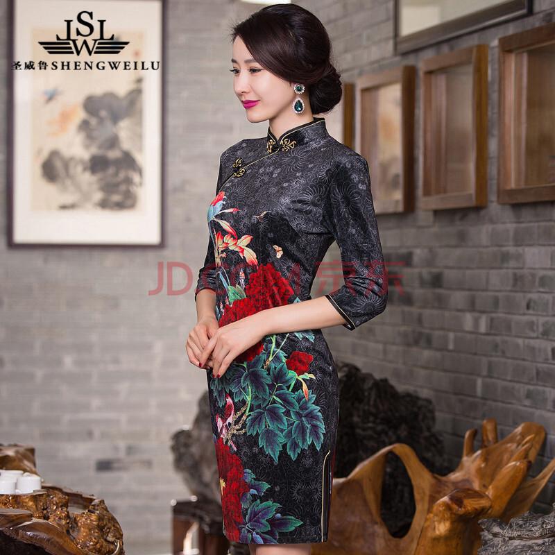 圣威鲁(shengweilu) 新款妈妈装旗袍裙中老年婚宴连衣裙中袖 图色 s图片