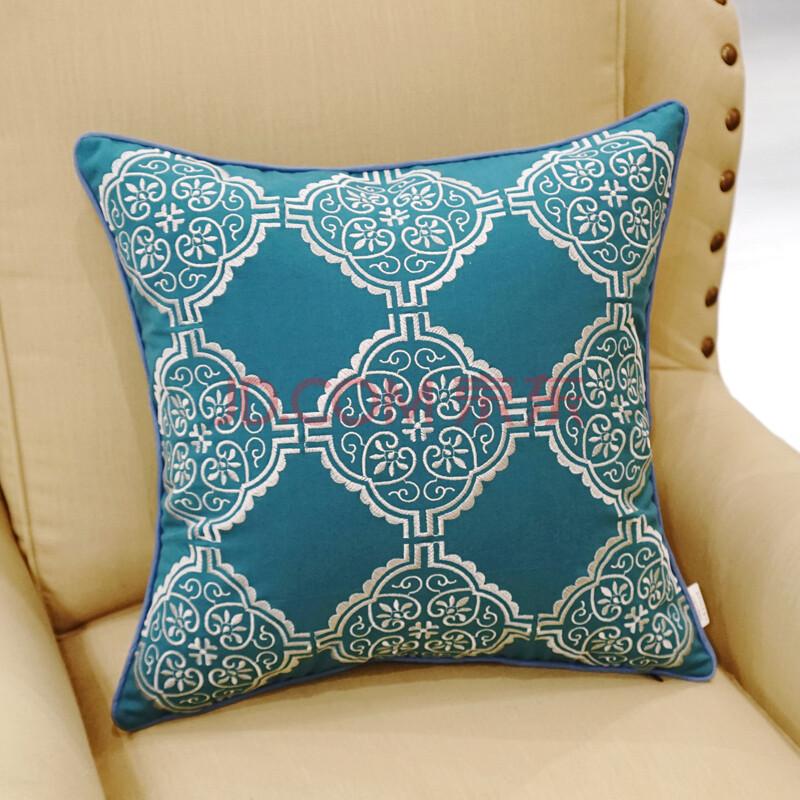 avigers 中式棉麻绣花靠垫办公室沙发抱枕床头靠枕靠背套夏 九个圈图片