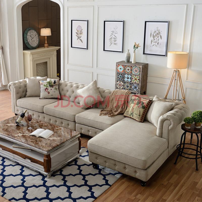 艾米莱奥 欧式新古典布艺沙发美式乡村风格客厅组合简约北欧拉扣三人图片