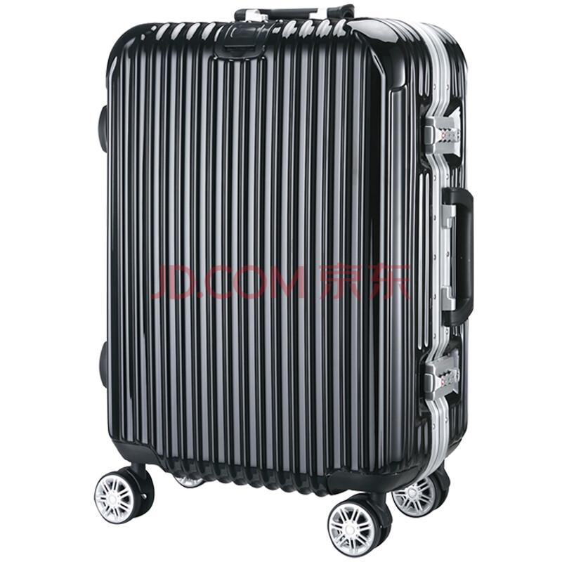 轮24寸旅行箱男20寸登机箱女行李箱26寸托运箱子29寸 金典挂扣版-黑色图片