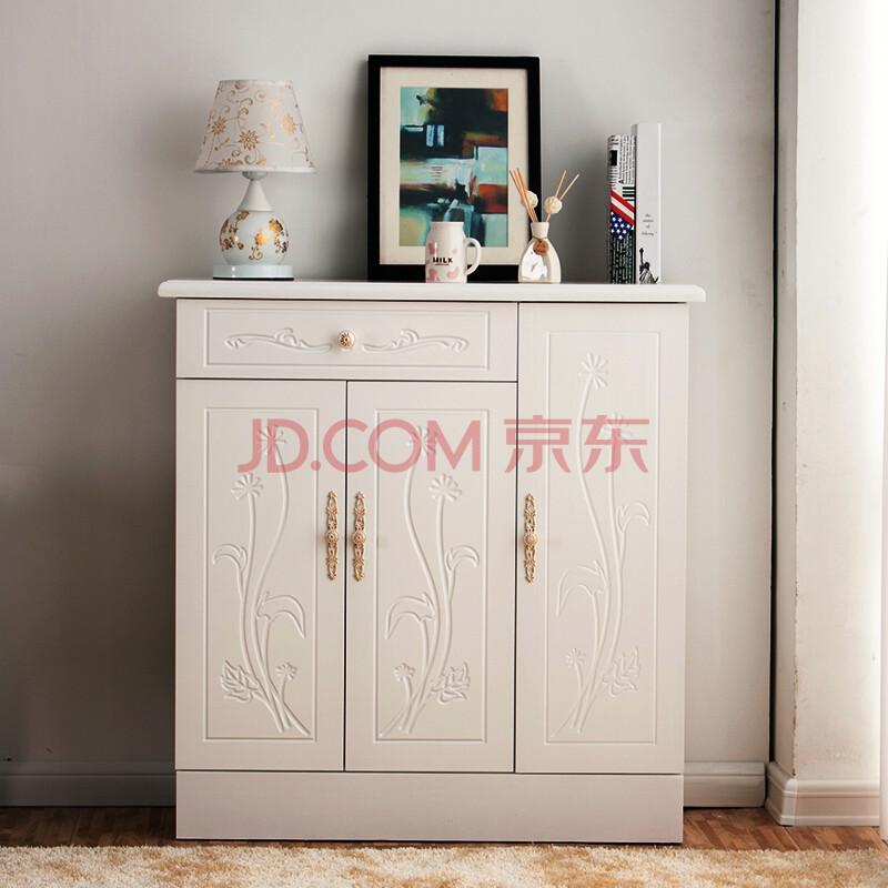 侧畔千帆 鞋柜实木超薄防尘门厅柜玄关柜简约现代白色