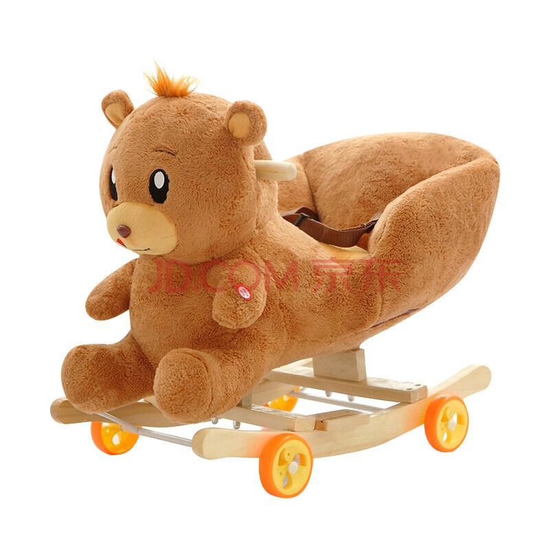 可爱小马米菲兔顽皮熊摇马公仔马车毛绒玩具大号摇马玩偶送给儿童孩子