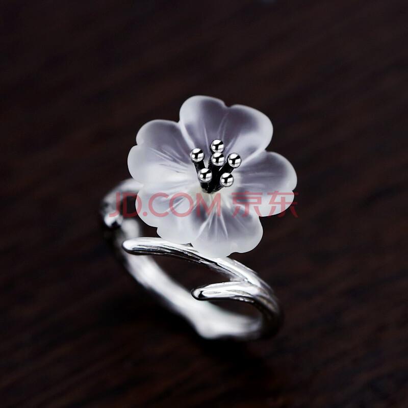 好饰临门 925银荷花树枝戒指女开口时尚食指戒指环