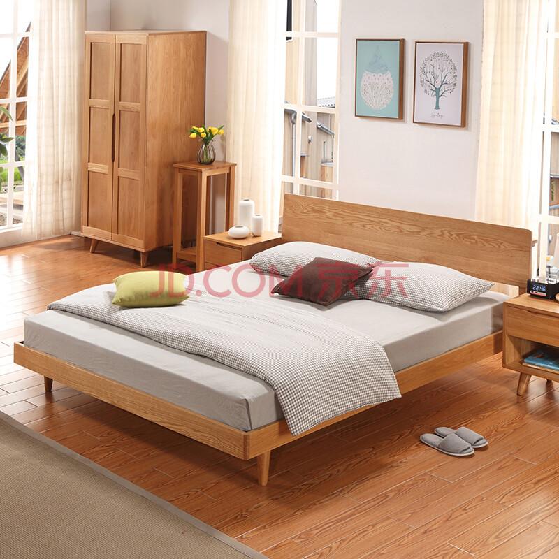 丽巢实木床现代简约双人床大床北欧原木实木床卧室家具床 预售7月25日