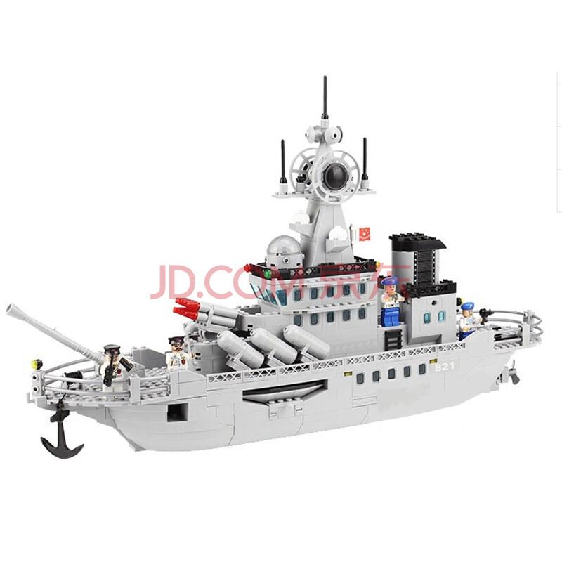 启蒙积木 军事拼装玩具船益智拼插塑料积木式821巡洋战舰航母模型