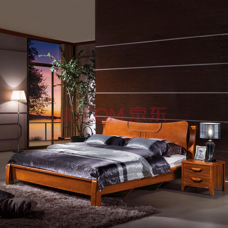 凡哥尔家具 现代中式床 板木床 宽边床 婚床 胡桃色床图片