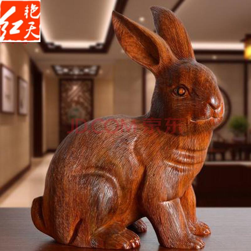 十二生肖兔招财木雕摆件送福送财富贵兔雕刻兔子工艺品招财装饰品