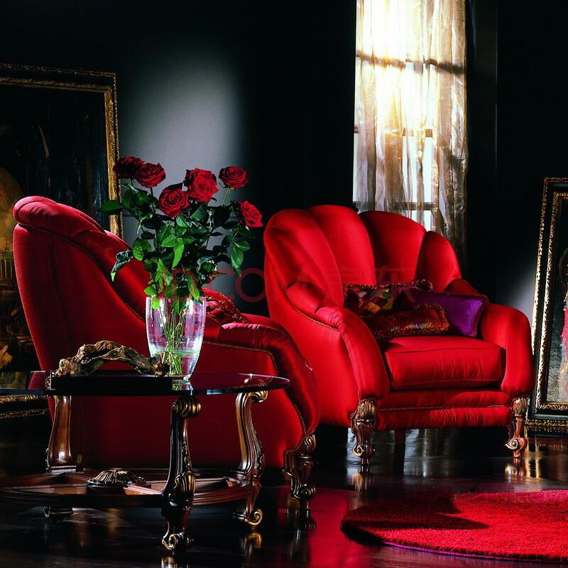 欧式实木沙发 美式红色布艺沙发组合