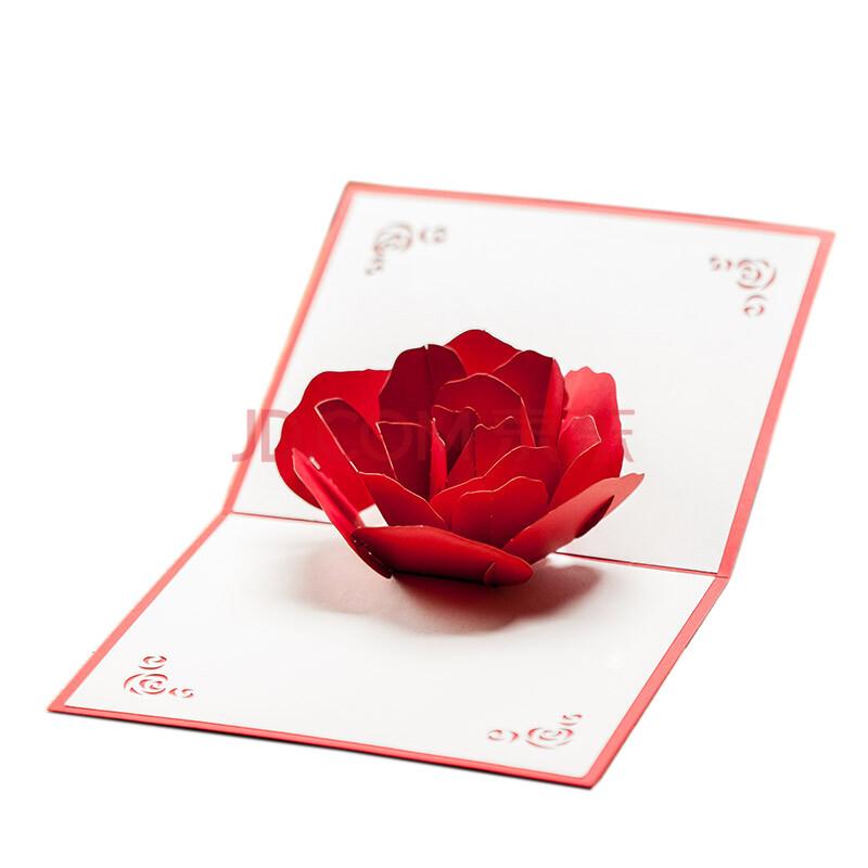 生日贺卡创意3d立体贺卡手工小卡片可爱代写祝福毕业父亲节 玫瑰红色