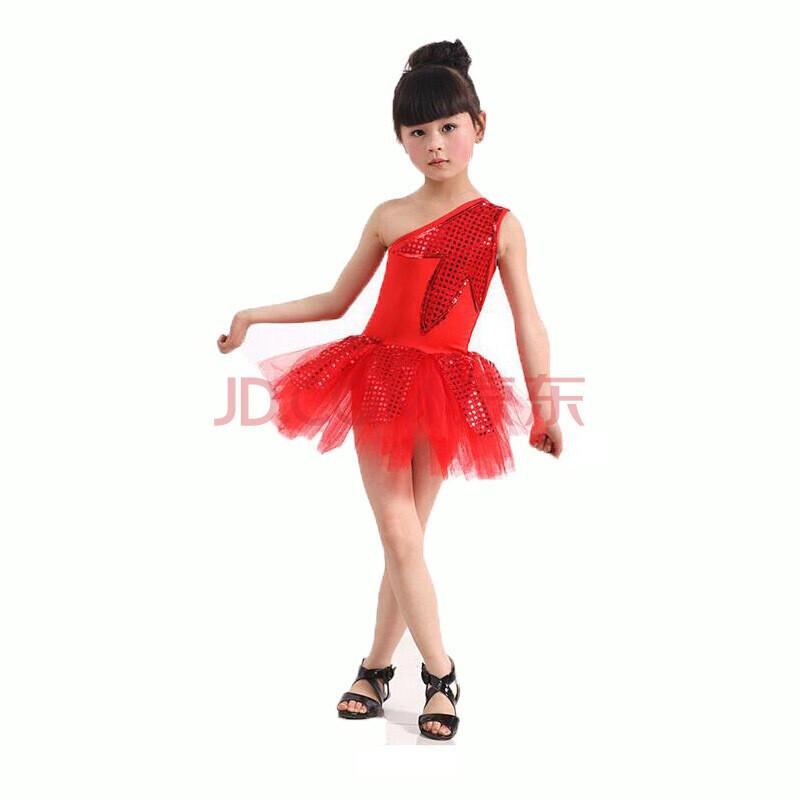 现代舞可爱树叶舞台服六一儿童小学生幼儿园表演舞蹈裙演出服装 红色图片