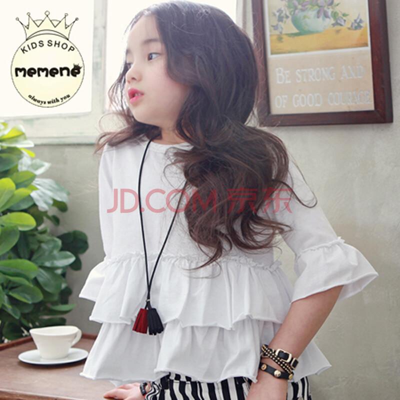 米米你童装1613韩国童装可爱女童娃娃短袖6分袖 白色