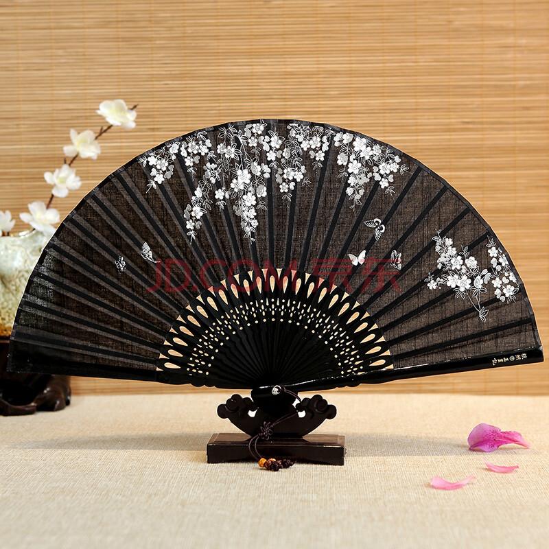 5寸棉麻花骨手绘折扇女 中国风工艺