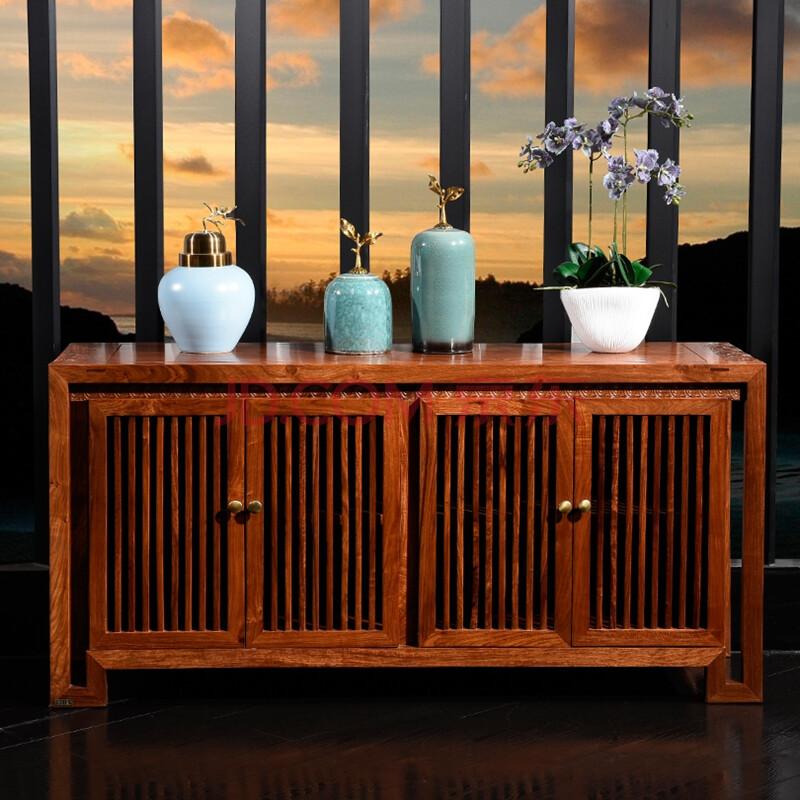 龙森 餐边柜实木新中式刺猬紫檀餐边柜8806 四门碗柜图片