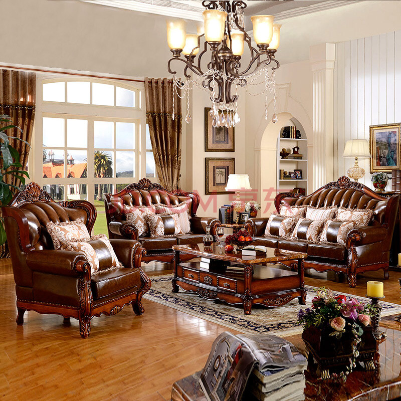 梵式 美式沙发真皮沙发组合 实木雕花大户型客厅沙发组合 双人位 三人图片