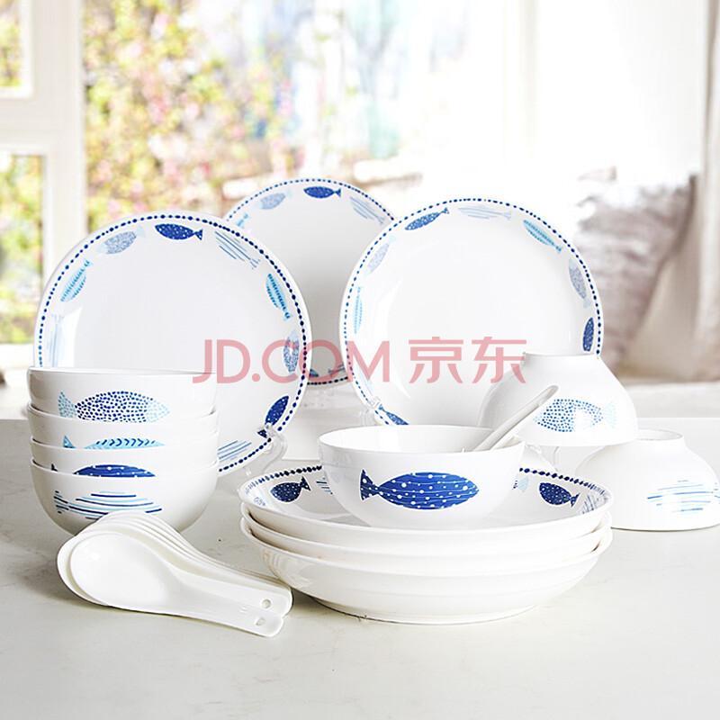 瓷航陶瓷碗碟筷餐具套装创意日式可爱卡通碗盘中式家用简约碗组合 22图片