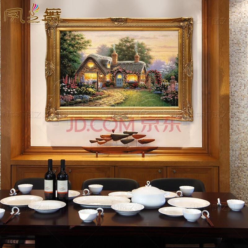 凤之舞 欧式手绘油画托马斯风景画美式客厅餐厅玄关过道壁炉装饰有框