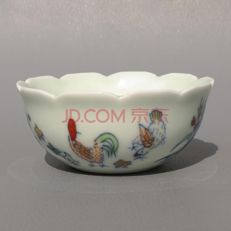 御豪景德镇陶瓷茶杯手绘复古大明成化斗彩三秋杯斗彩鸡缸杯品茗杯