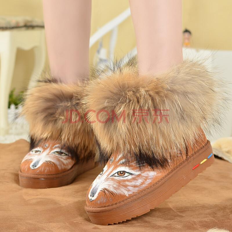 卜丁手绘狐狸毛雪地靴超大毛口真皮防滑保暖短筒冬靴