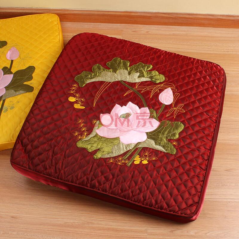 朵忆姿 莲花刺绣方形坐垫 打坐蒲团禅修垫 跪垫拜佛垫