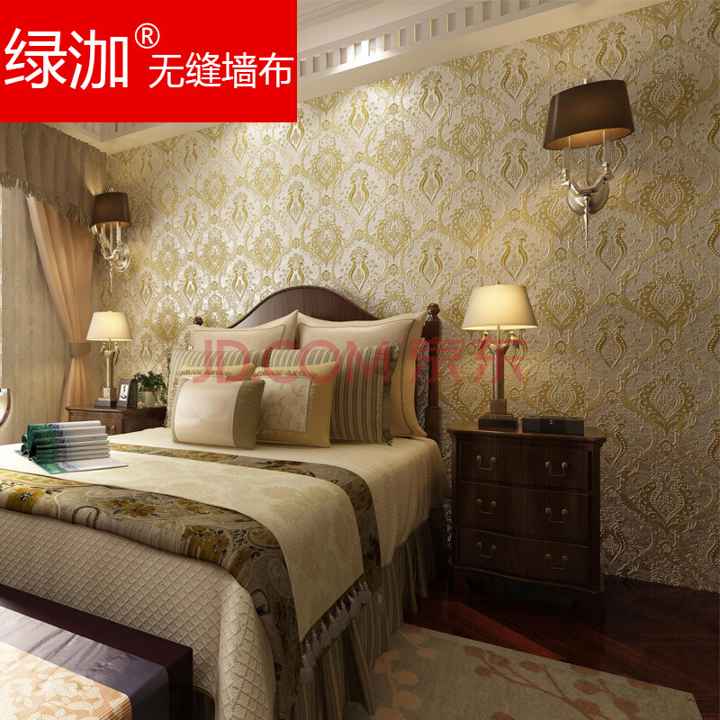 绿泇无缝墙布欧式大马士革电视背景墙客厅卧室餐厅书房丝光壁布壁画图片