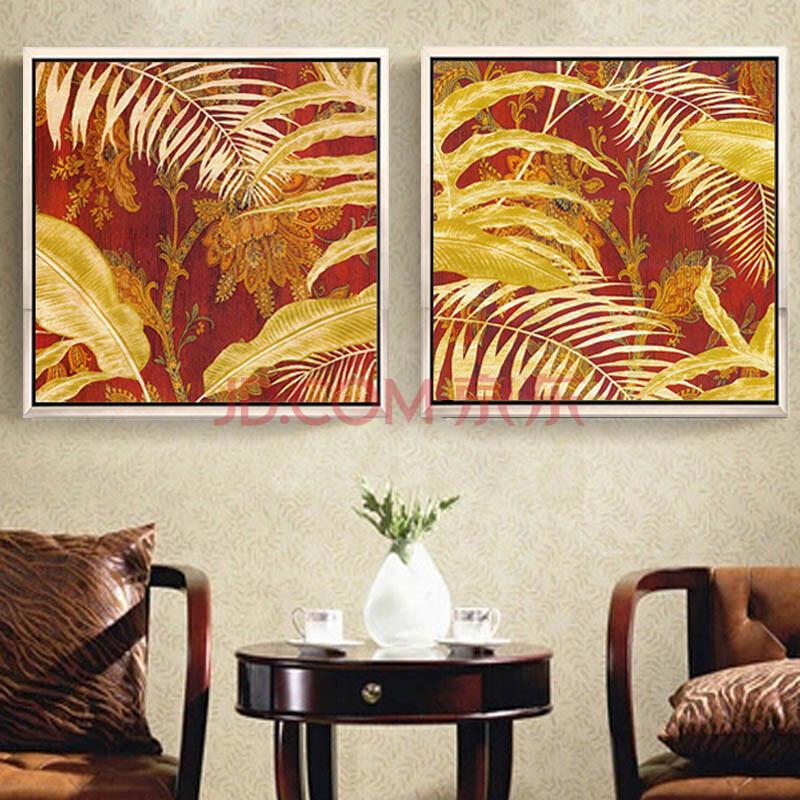 艺上美 东南亚风格装饰画 美式客厅有框画挂画 卧室床头壁画花卉二联