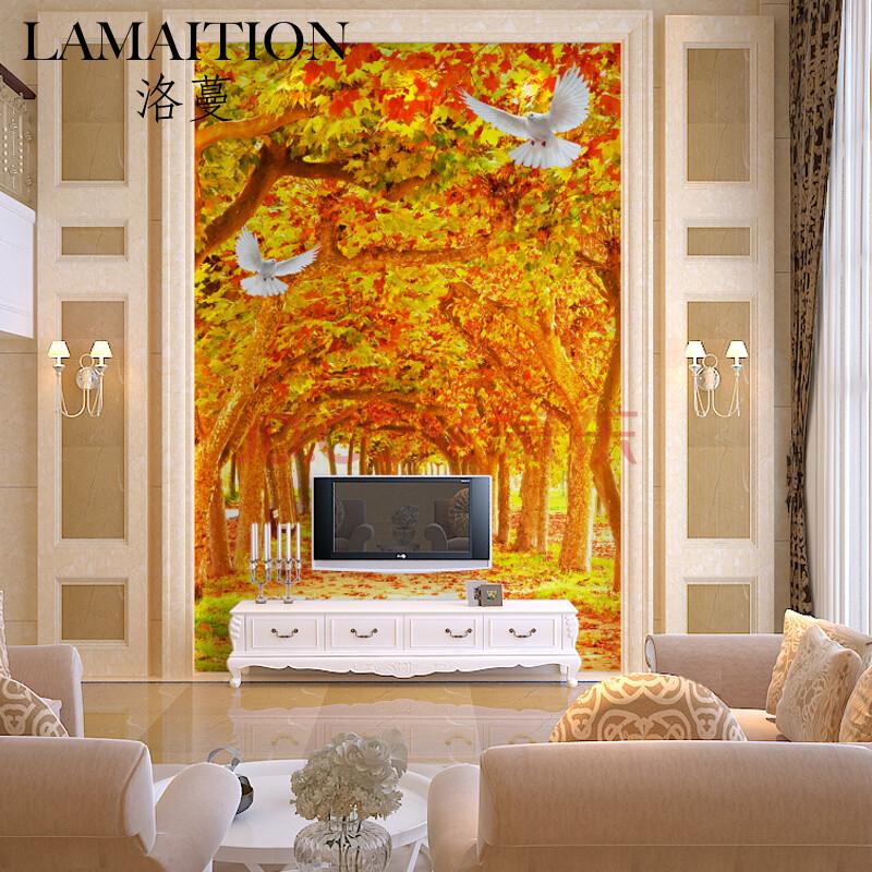 洛蔓 客厅沙发卧室电视背景墙壁画墙纸墙布定制 无缝环保 3d风景枫叶