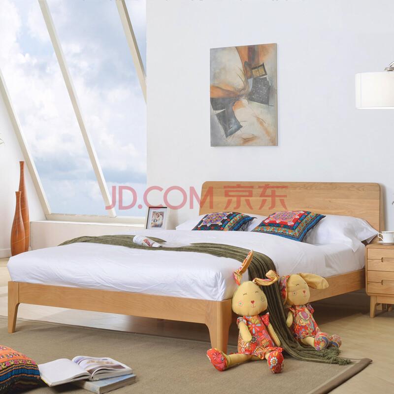 雕刻世家北欧fas级原木家具白橡木家具实木床1.2米1.35米1.5米1.