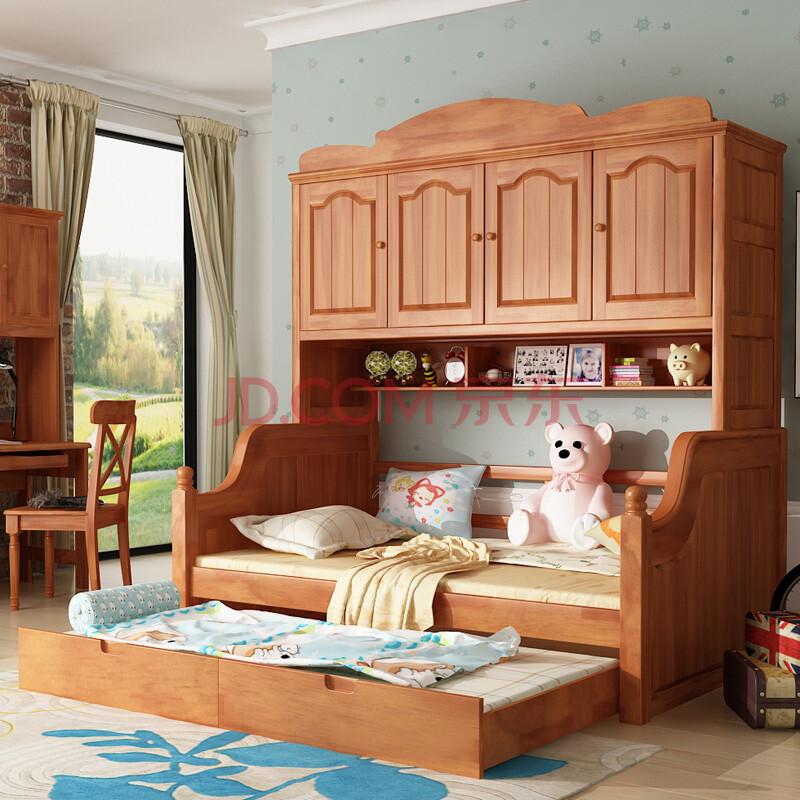优漫佳 儿童床全实木衣柜床芬兰松木子母床组合床 四门衣柜床 拖床 1.