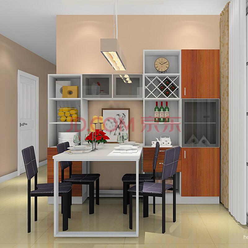 雅阁利尔 餐桌 餐边柜 酒柜 组合餐桌柜 柚木套白色(不包含餐椅) 与图片