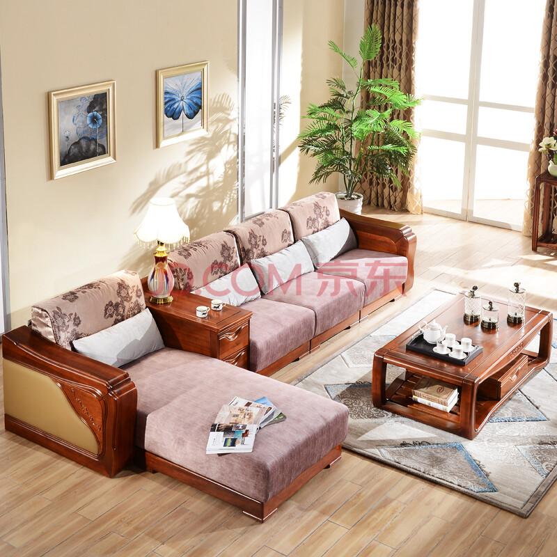 柚木实木沙发 转角布艺实木沙发组合 现代中式沙发贵妃 转角沙发 茶几