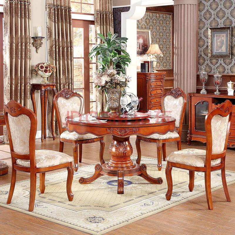 圆桌 欧式圆餐桌椅组合 美式实木圆餐桌 圆形餐桌1米到1.5米 1.