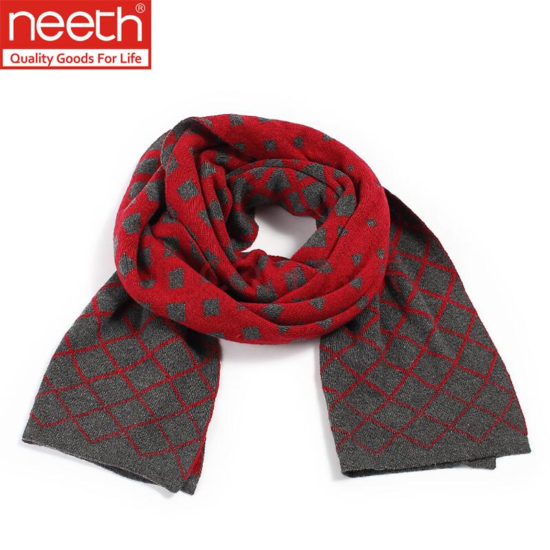 neeth秋冬新款男士围巾时尚韩版保暖围巾菱形网格款礼盒包装 红色