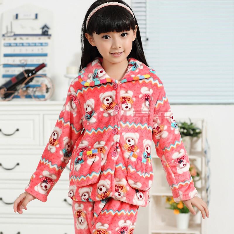 儿童法兰绒睡衣 女童珊瑚绒睡衣儿童长袖睡衣套装