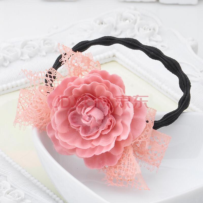 雅蝶娜 韩国版饰品手工发饰 蕾丝绢纱叶子玫瑰花朵发圈发绳头花 粉色