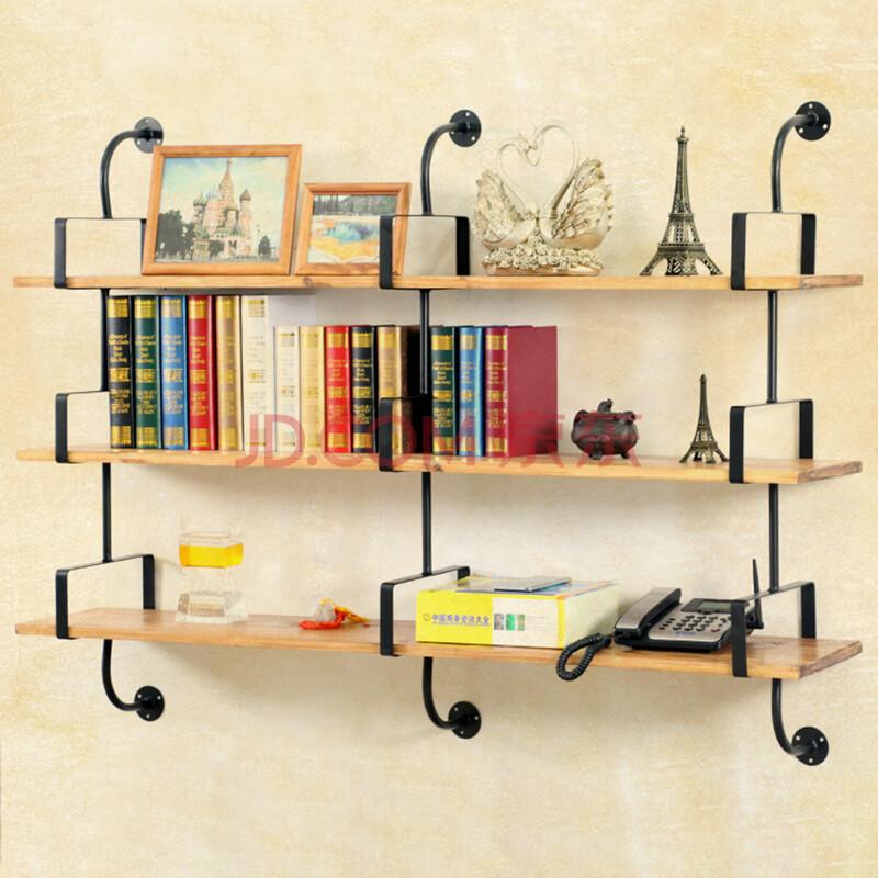 实木隔板墙上置物架墙壁搁板 墙面创意壁挂书架 宜家壁架壁柜层板挂墙