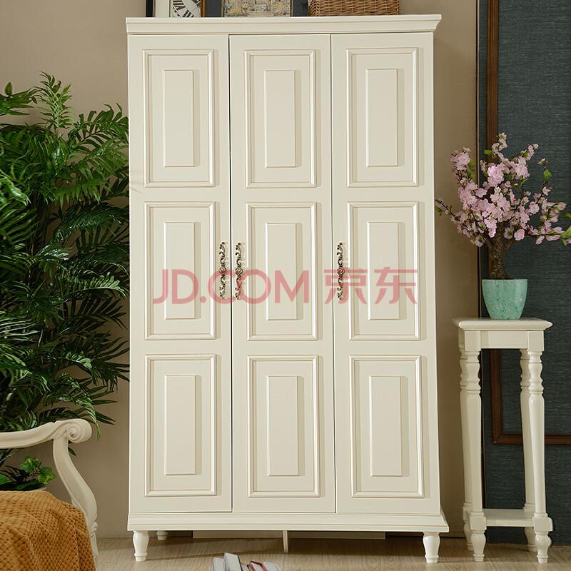登堡格家具 欧式衣柜 法式实木两门衣橱 象牙白色大存