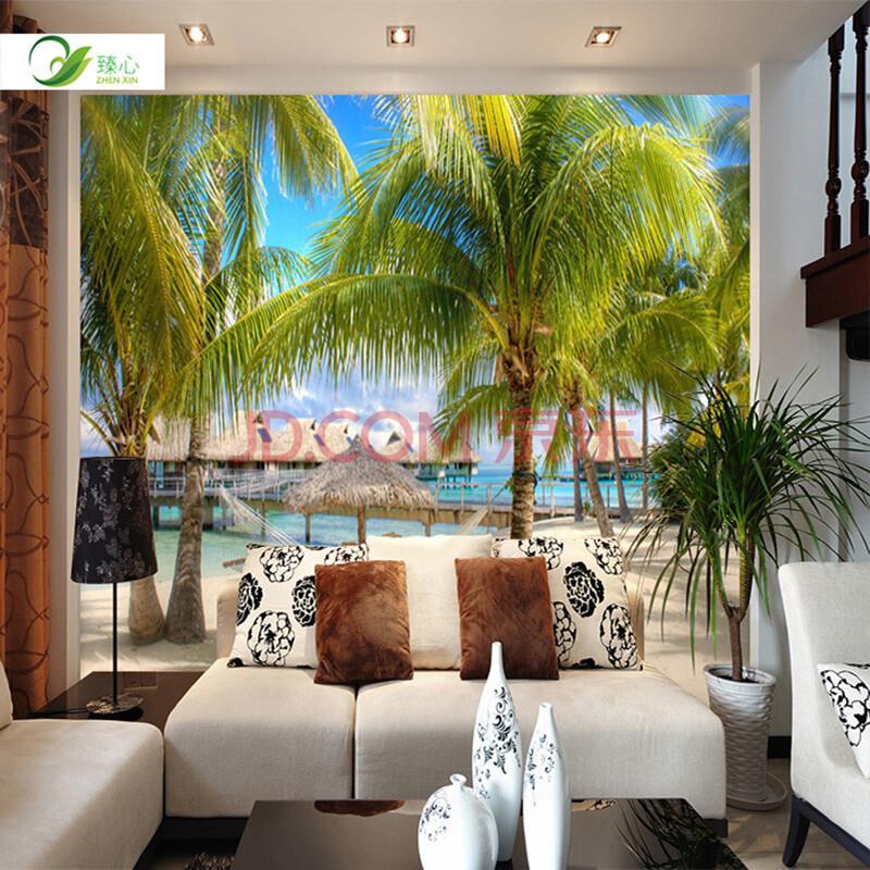 臻心家居客厅电视背景墙壁纸墙纸3d立体自然海景风景墙布壁画椰树窗户