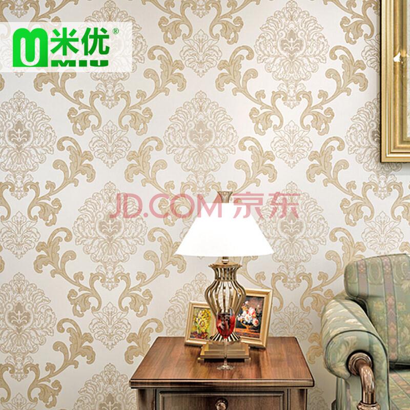 米优墙纸欧式3d立体浮雕无纺布蚕丝墙纸大马士革花纹图片