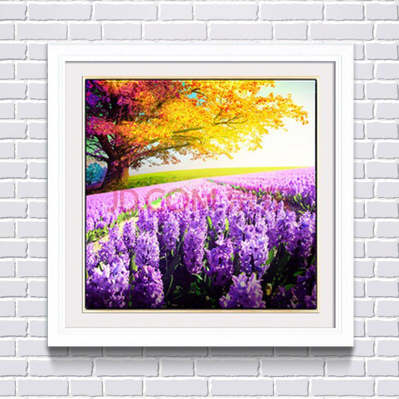 新款滿鉆鉆石畫小幅魔方圓鉆貼十字繡薰衣草花卉風景圖客廳磚石秀 滿