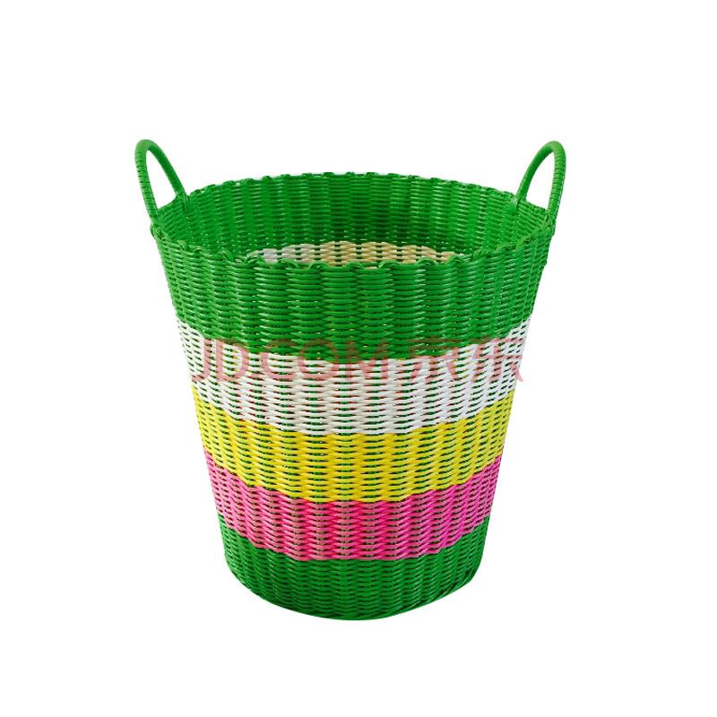 创意加大圆形多彩浴室编织收纳篮 厨房塑料藤编脏衣篮