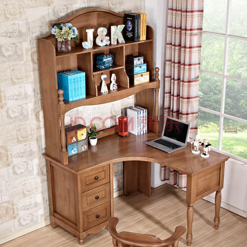 尚美雅 美式乡村书桌 全实木转角书桌书架书柜组合 电脑桌写字台 儿童图片