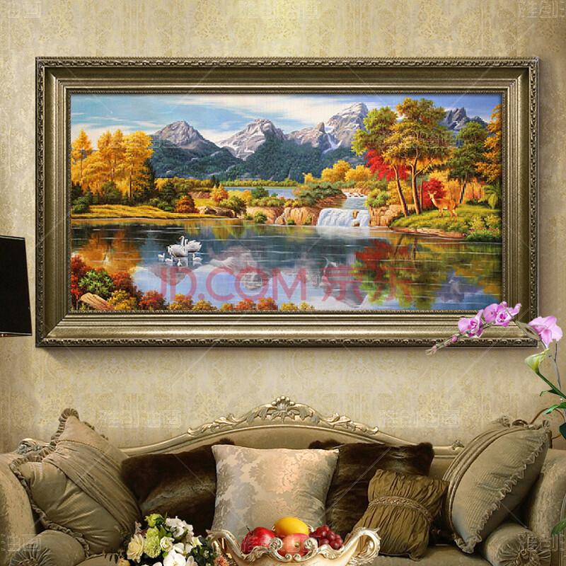 雅创 纯手绘客厅装饰画山水风景油画欧式美式玄关走廊图片