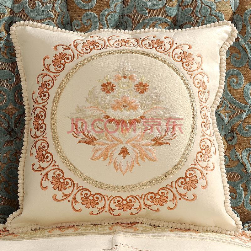 靠垫欧式抱枕沙发靠枕绣花床头大靠背布艺抱枕套 暗香浮影象牙白圆