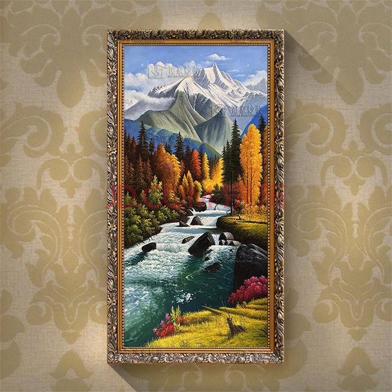 有框画手绘手工油画欧式简约别墅客厅玄关走廊过道楼梯书房装饰画竖版