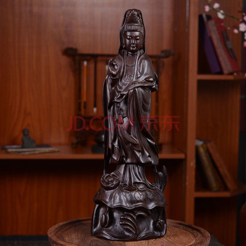 荷田汇黑檀木雕如意观音佛像立莲观世音菩萨大号家居摆件木质实木雕刻