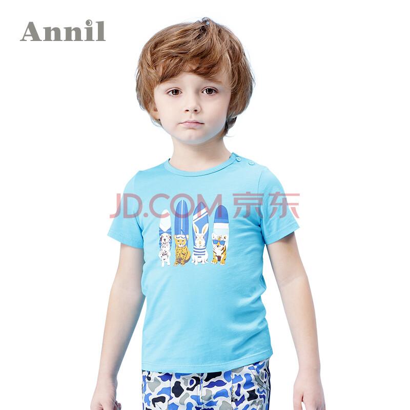 安奈儿童装男童t恤2016夏装新款男宝宝圆领短袖针织衫