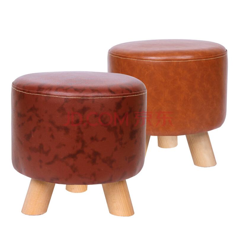 妙饰 创意皮凳子小凳子实木小矮凳家具凳客厅小凳茶几图片